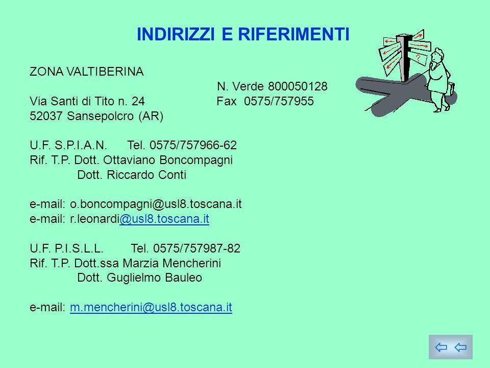 INDIRIZZI E RIFERIMENTI ZONA VALTIBERINA N.Verde 800050128 Via Santi di Tito n.
