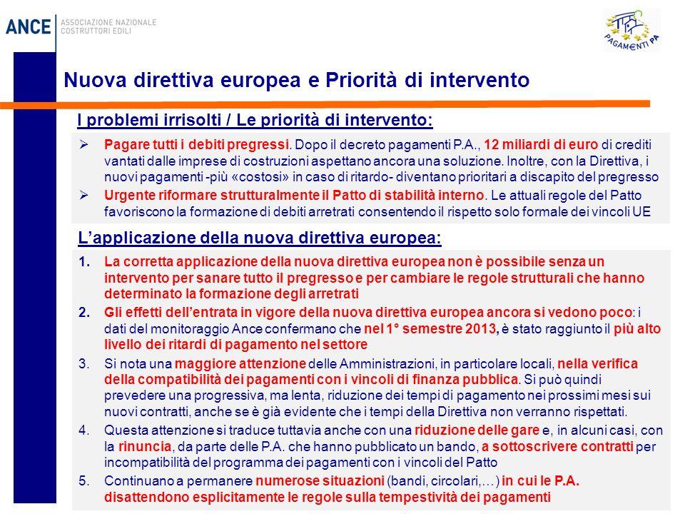 10 Nuova direttiva europea e Priorità di intervento Pagare tutti i debiti pregressi.