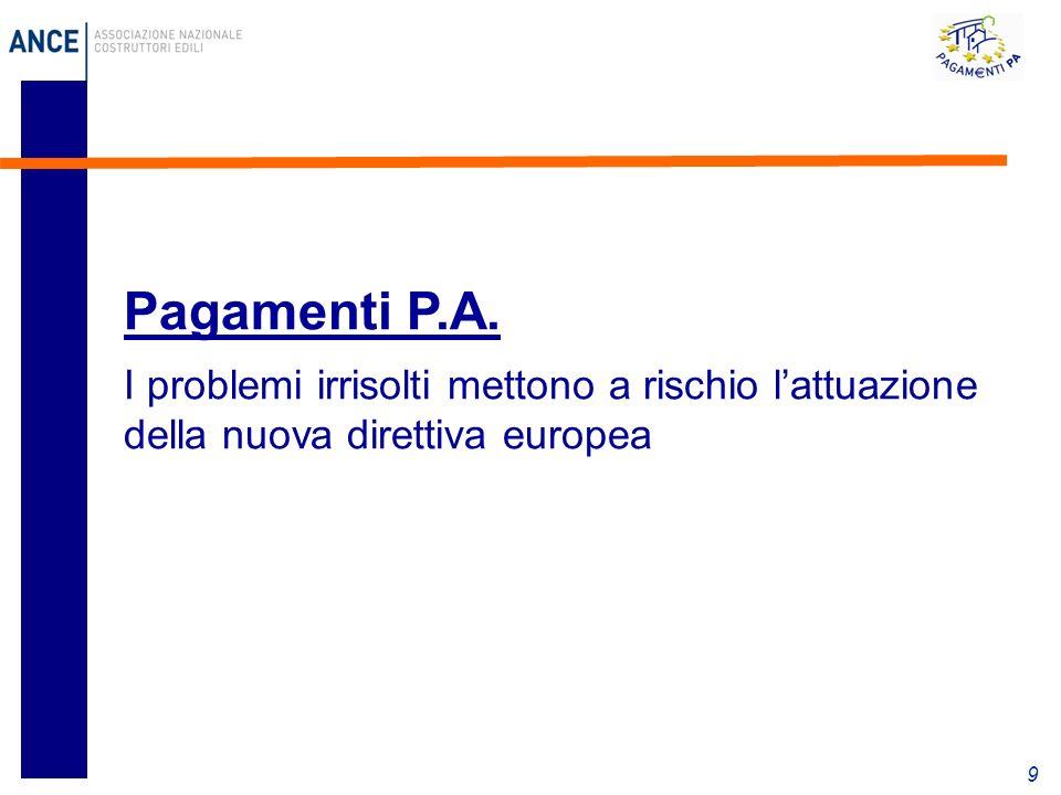 9 Pagamenti P.A. I problemi irrisolti mettono a rischio lattuazione della nuova direttiva europea