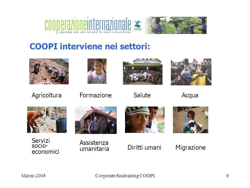 Marzo 2008Corporate fundraising COOPI9 COOPI interviene nei settori: AgricolturaFormazione Salute Acqua Servizi socio- economici Assistenza umanitaria Diritti umaniMigrazione