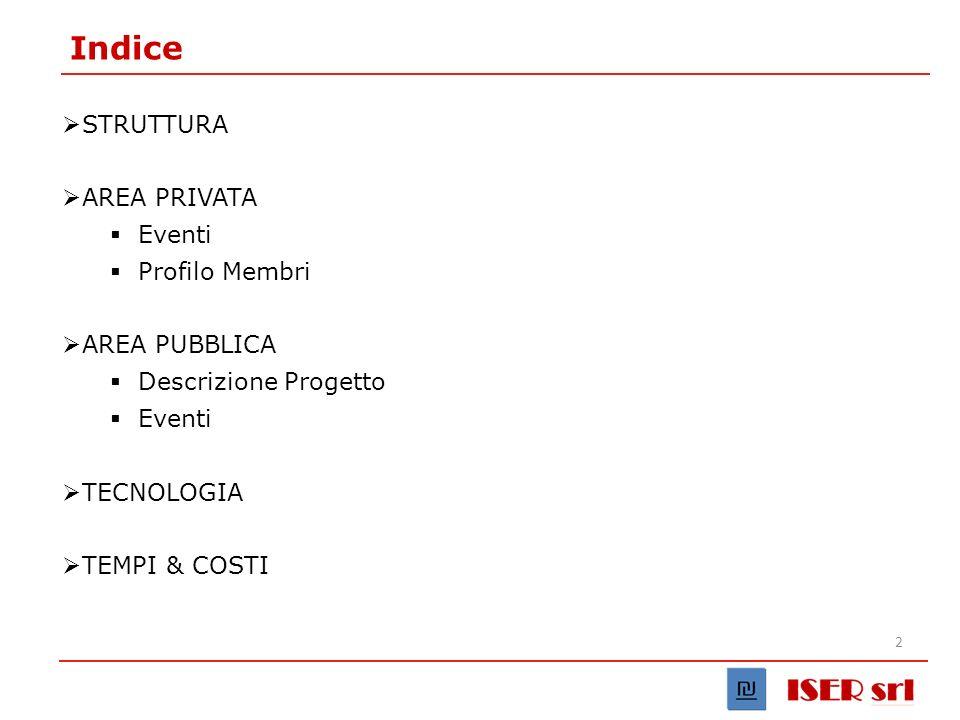 2 Indice STRUTTURA AREA PRIVATA Eventi Profilo Membri AREA PUBBLICA Descrizione Progetto Eventi TECNOLOGIA TEMPI & COSTI