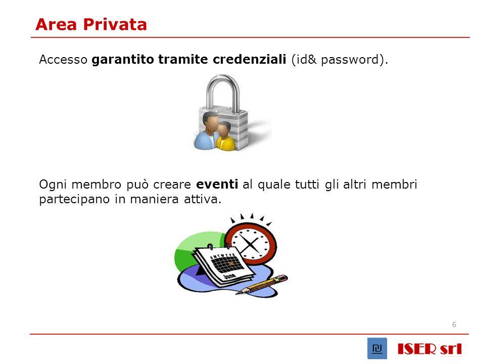 6 Area Privata Accesso garantito tramite credenziali (id& password). Ogni membro può creare eventi al quale tutti gli altri membri partecipano in mani