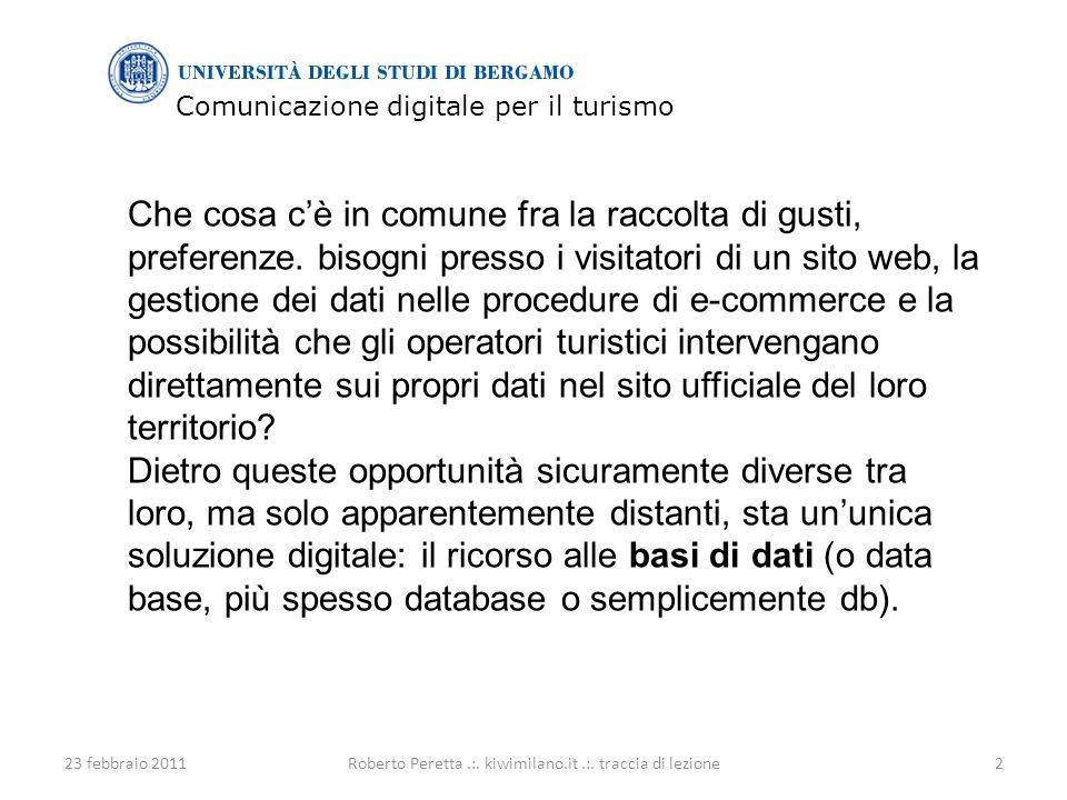 Comunicazione digitale per il turismo 23 febbraio 20112Roberto Peretta.:.