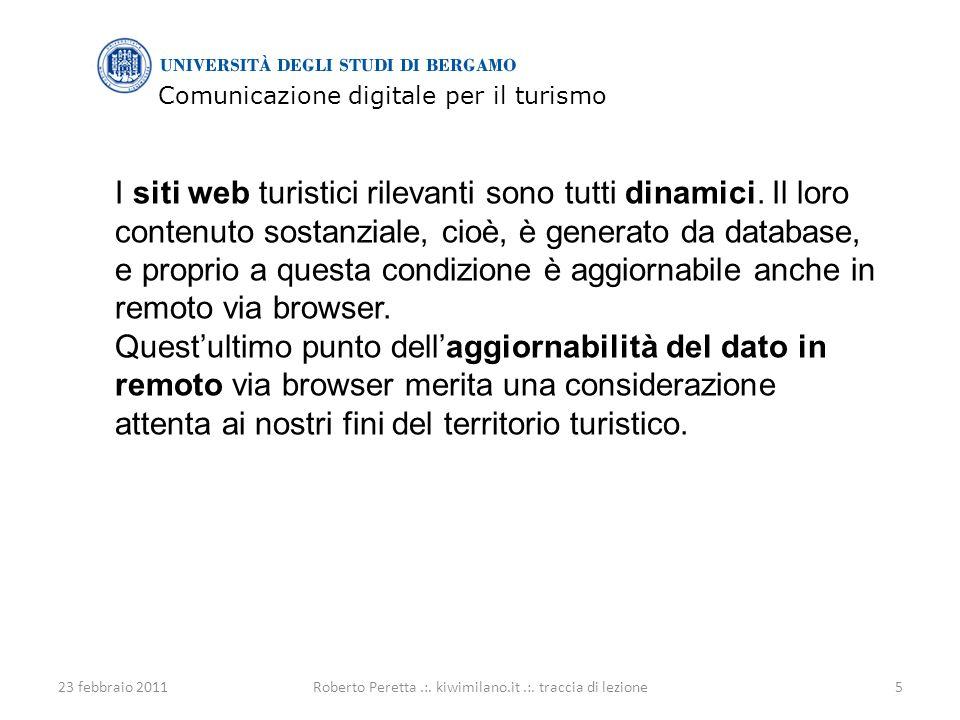 Comunicazione digitale per il turismo 23 febbraio 20115Roberto Peretta.:.