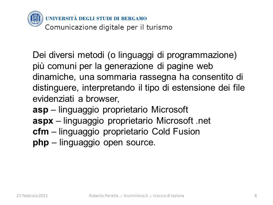 Comunicazione digitale per il turismo 23 febbraio 20119Roberto Peretta.:.