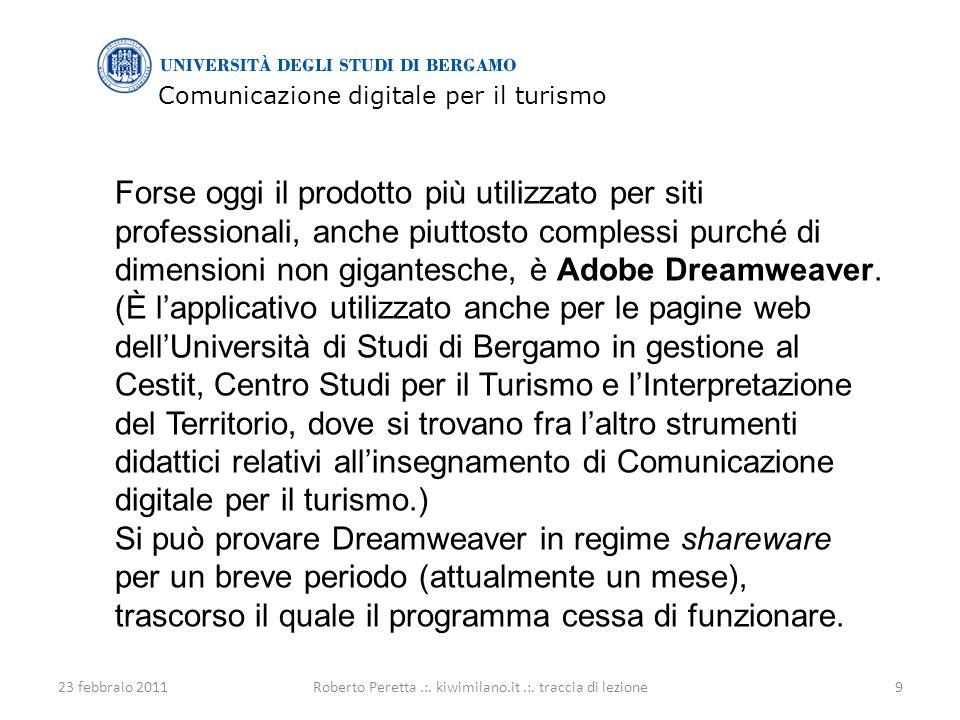 Comunicazione digitale per il turismo 23 febbraio 201110Roberto Peretta.:.