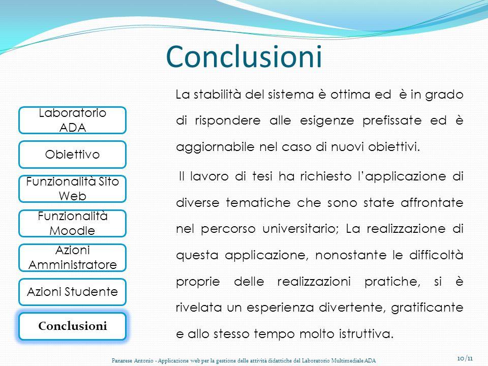 Laboratorio ADA Obiettivo Funzionalità Sito Web Funzionalità Moodle Conclusioni Azioni Amministratore Azioni Studente Conclusioni La stabilità del sis
