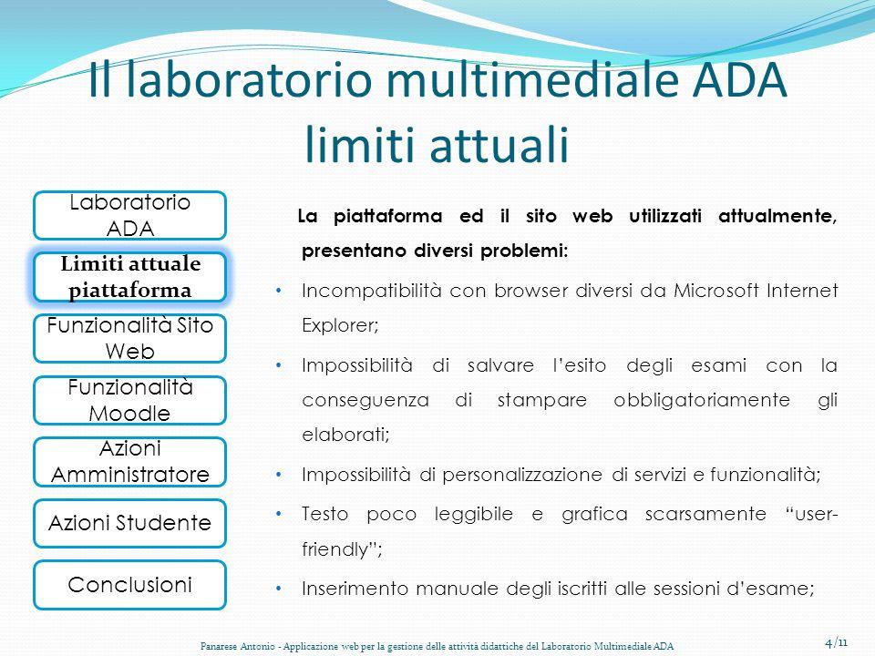 Laboratorio ADA Obiettivo Funzionalità Sito Web Funzionalità Moodle Conclusioni Azioni Amministratore Azioni Studente Il laboratorio multimediale ADA