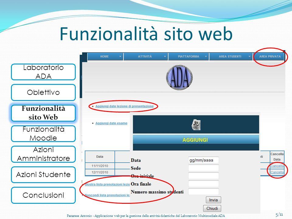 Laboratorio ADA Obiettivo Funzionalità Sito Web Funzionalità Moodle Conclusioni Azioni Amministratore Azioni Studente Funzionalità sito web Il nuovo s