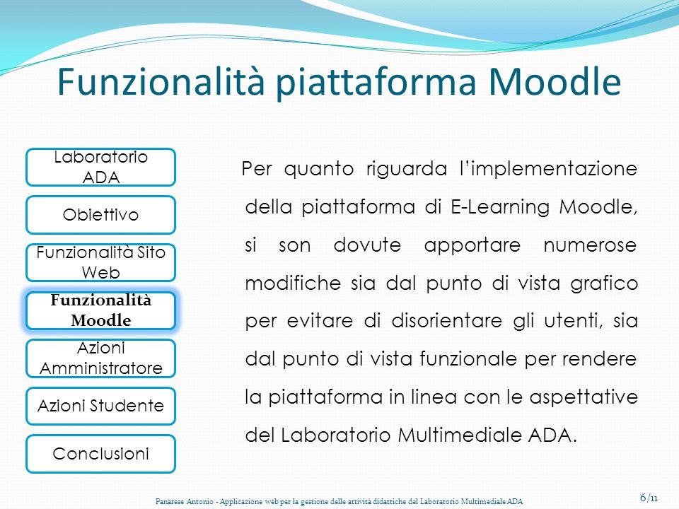 Laboratorio ADA Obiettivo Funzionalità Sito Web Funzionalità Moodle Conclusioni Azioni Amministratore Azioni Studente Funzionalità piattaforma Moodle
