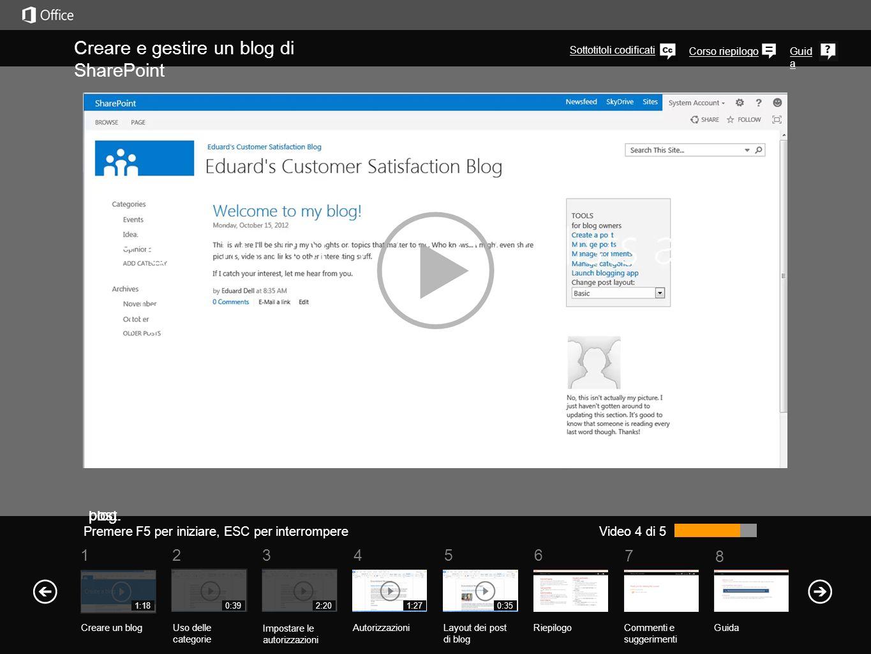 5 7 61234 Corso riepilogo 8 Guid a Creare e gestire un blog di SharePoint Premere F5 per iniziare, ESC per interrompere RiepilogoCommenti e suggerimenti Guida Video 4 di 5 1:18 Creare un blogUso delle categorie Impostare le autorizzazioni Autorizzazioni 0:392:201:27 Layout dei post di blog Supponendo che tu abbia impostato le autorizzazioni utente per il blog, è decisamente consigliabile impostare autorizzazioni specifiche per i singoli elenchi e raccolte che fanno parte del blog.