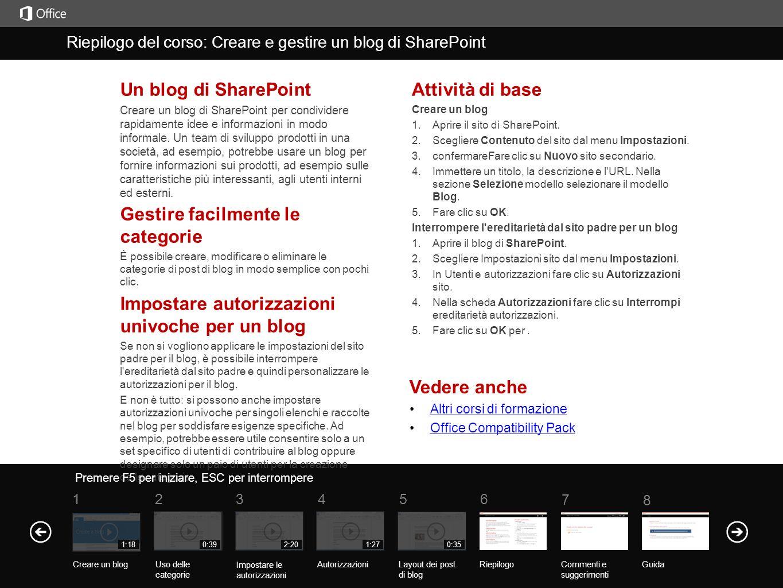 Help Course summary 5 7 61 234 8 1:180:392:201:270:35 Vedere anche Altri corsi di formazione Office Compatibility Pack Un blog di SharePoint Creare un blog di SharePoint per condividere rapidamente idee e informazioni in modo informale.