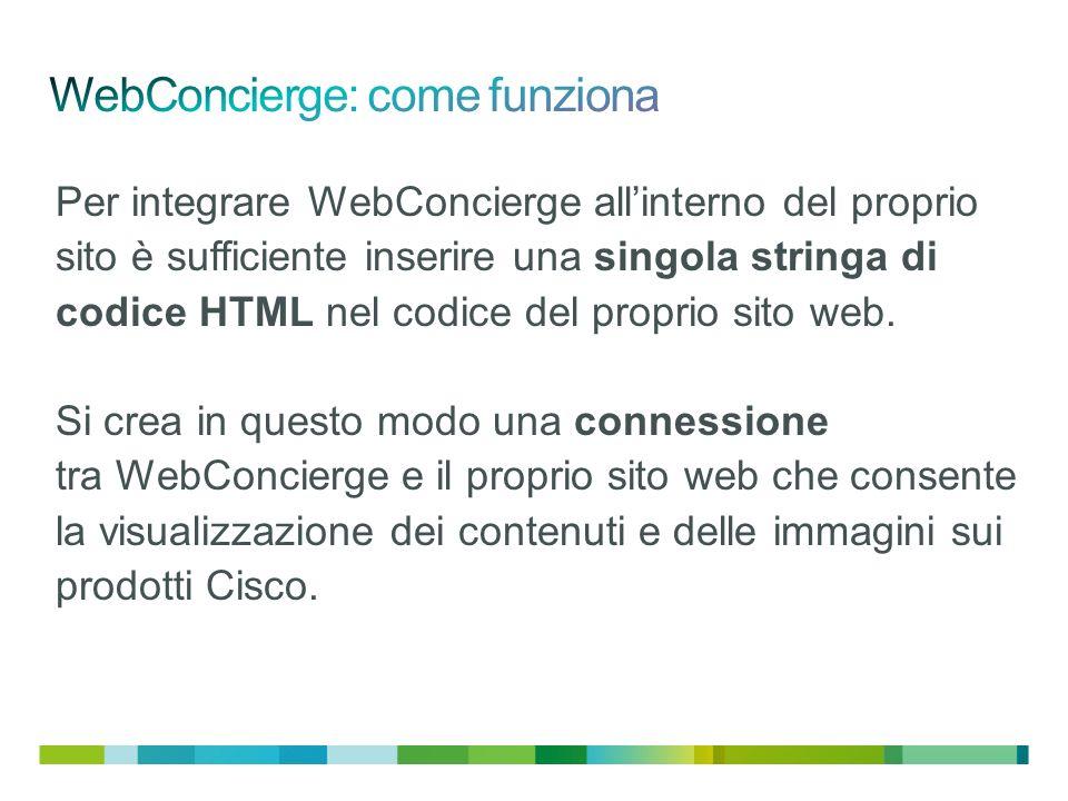 Per integrare WebConcierge allinterno del proprio sito è sufficiente inserire una singola stringa di codice HTML nel codice del proprio sito web.
