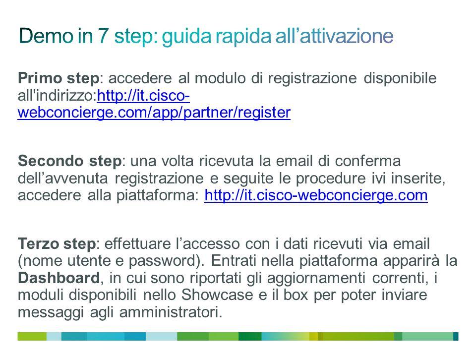 Primo step: accedere al modulo di registrazione disponibile all indirizzo:http://it.cisco- webconcierge.com/app/partner/registerhttp://it.cisco- webconcierge.com/app/partner/register Secondo step: una volta ricevuta la email di conferma dellavvenuta registrazione e seguite le procedure ivi inserite, accedere alla piattaforma: http://it.cisco-webconcierge.comhttp://it.cisco-webconcierge.com Terzo step: effettuare laccesso con i dati ricevuti via email (nome utente e password).