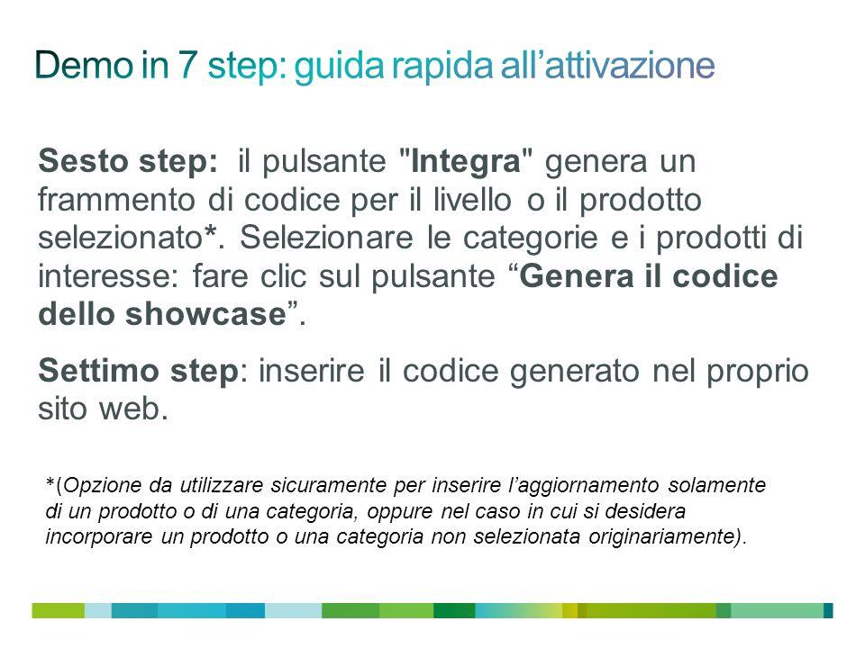 Sesto step: il pulsante Integra genera un frammento di codice per il livello o il prodotto selezionato*.