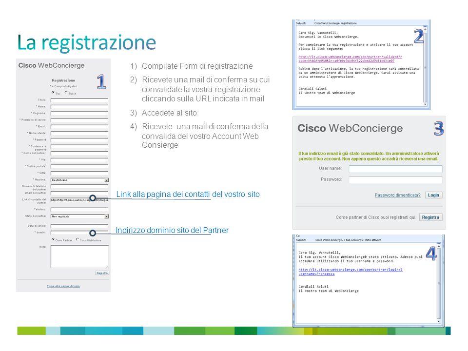 Indirizzo dominio sito del Partner Link alla pagina dei contatti del vostro sito 1)Compilate Form di registrazione 2)Ricevete una mail di conferma su cui convalidate la vostra registrazione cliccando sulla URL indicata in mail 3)Accedete al sito 4)Ricevete una mail di conferma della convalida del vostro Account Web Consierge