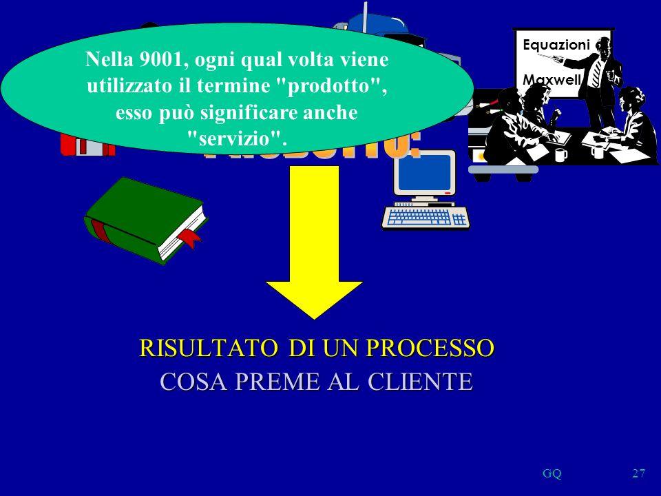 GQ27 RISULTATO DI UN PROCESSO COSA PREME AL CLIENTE Nella 9001, ogni qual volta viene utilizzato il termine prodotto , esso può significare anche servizio .