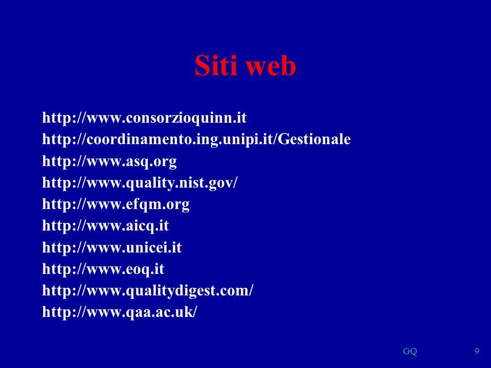 GQ9 Siti web http://www.consorzioquinn.it http://coordinamento.ing.unipi.it/Gestionale http://www.asq.org http://www.quality.nist.gov/ http://www.efqm.org http://www.aicq.it http://www.unicei.it http://www.eoq.it http://www.qualitydigest.com/ http://www.qaa.ac.uk/