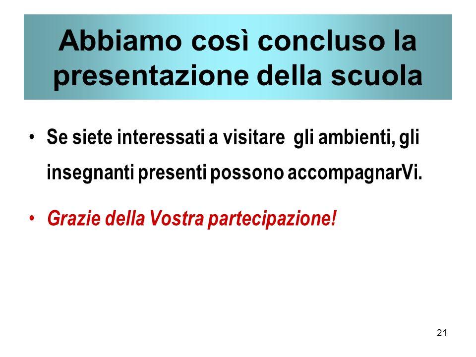 21 Abbiamo così concluso la presentazione della scuola Se siete interessati a visitare gli ambienti, gli insegnanti presenti possono accompagnarVi.