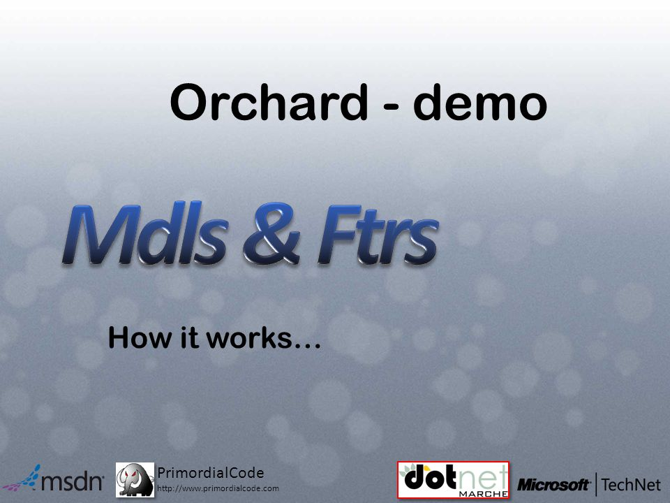 PrimordialCode http://www.primordialcode.com Orchard - demo How it works…