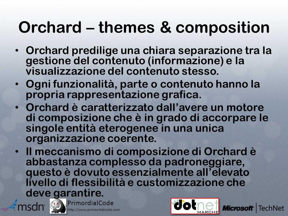 PrimordialCode http://www.primordialcode.com Orchard – themes & composition Orchard predilige una chiara separazione tra la gestione del contenuto (informazione) e la visualizzazione del contenuto stesso.