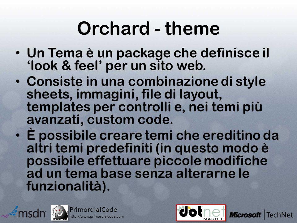 PrimordialCode http://www.primordialcode.com Orchard - theme Un Tema è un package che definisce il look & feel per un sito web.