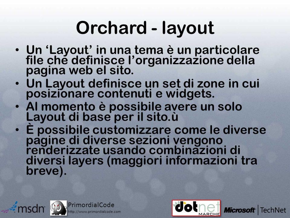 PrimordialCode http://www.primordialcode.com Orchard - layout Un Layout in una tema è un particolare file che definisce lorganizzazione della pagina web el sito.