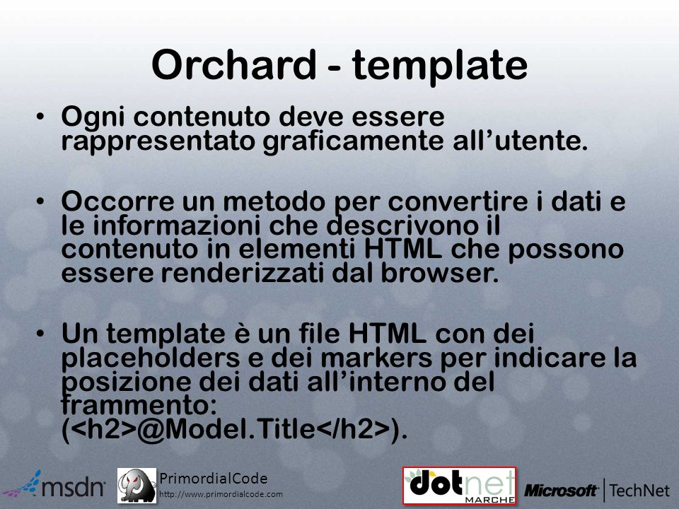PrimordialCode http://www.primordialcode.com Orchard - template Ogni contenuto deve essere rappresentato graficamente allutente.