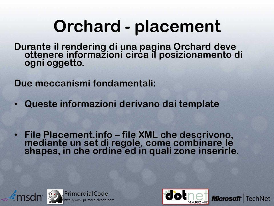 PrimordialCode http://www.primordialcode.com Orchard - placement Durante il rendering di una pagina Orchard deve ottenere informazioni circa il posizionamento di ogni oggetto.