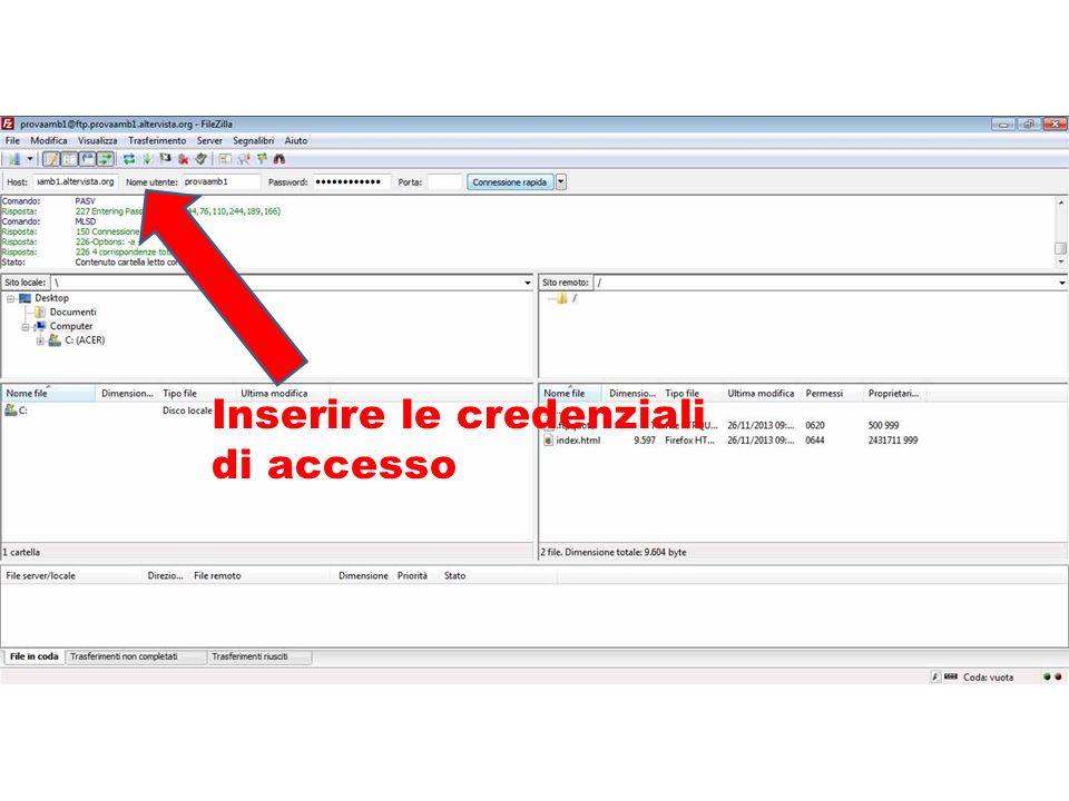 Inserire le credenziali di accesso