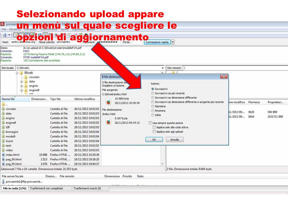 Selezionando upload appare un menù sul quale scegliere le opzioni di aggiornamento