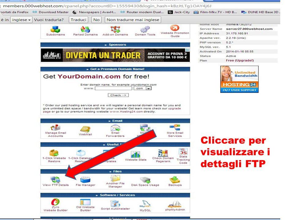 Cliccare per visualizzare i dettagli FTP