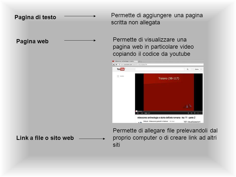 Pagina di testo Permette di aggiungere una pagina scritta non allegata Pagina web Permette di visualizzare una pagina web in particolare video copiand