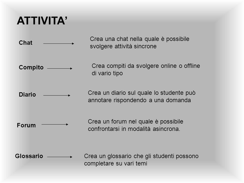 ATTIVITA Chat Crea una chat nella quale è possibile svolgere attività sincrone Compito Crea compiti da svolgere online o offline di vario tipo Diario