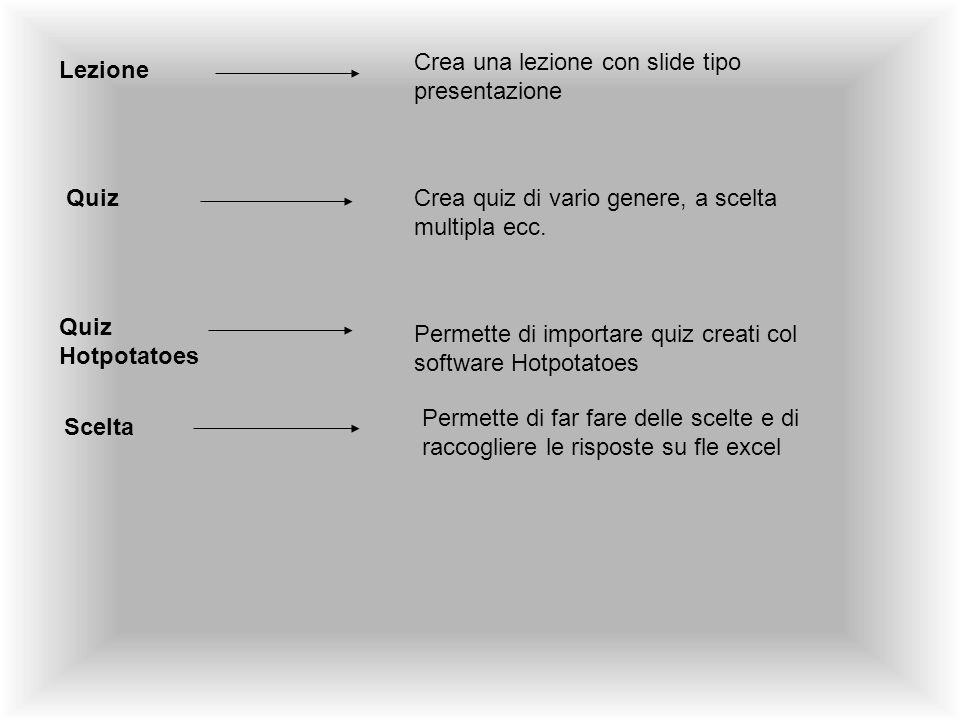 Lezione Crea una lezione con slide tipo presentazione QuizCrea quiz di vario genere, a scelta multipla ecc. Quiz Hotpotatoes Permette di importare qui