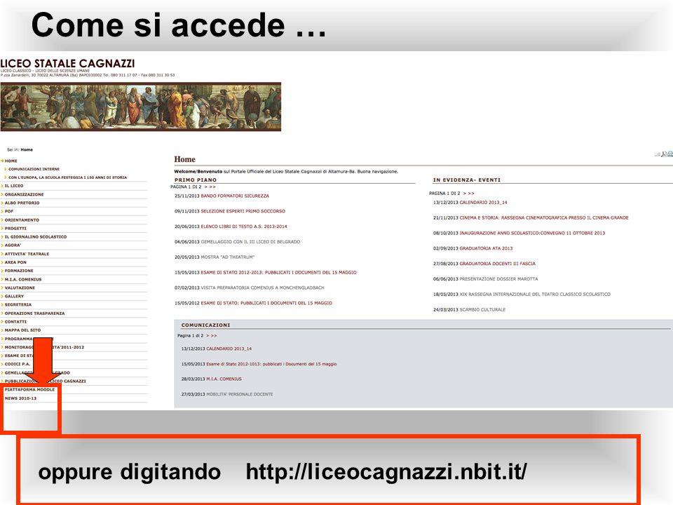Come si accede … Sito scolastico oppure digitando http://liceocagnazzi.nbit.it/