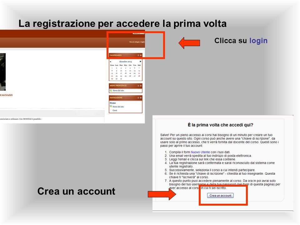 La registrazione per accedere la prima volta Clicca su login Crea un account