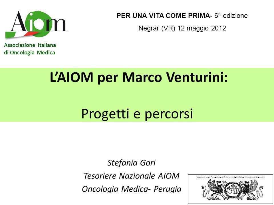 LAIOM per Marco Venturini: Progetti e percorsi Stefania Gori Tesoriere Nazionale AIOM Oncologia Medica- Perugia Stemma dell'Ospedale di S. Maria della