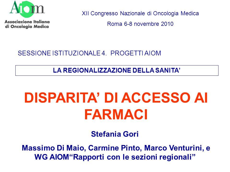 DISPARITA DI ACCESSO AI FARMACI SESSIONE ISTITUZIONALE 4. PROGETTI AIOM XII Congresso Nazionale di Oncologia Medica Roma 6-8 novembre 2010 LA REGIONAL