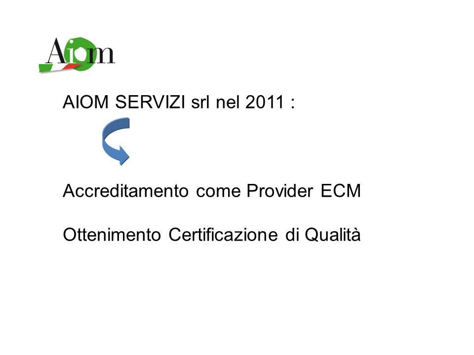 AIOM SERVIZI srl nel 2011 : Accreditamento come Provider ECM Ottenimento Certificazione di Qualità