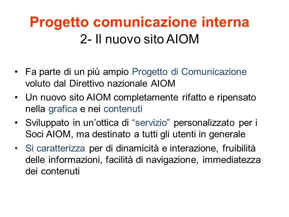 Progetto comunicazione interna 2- Il nuovo sito AIOM Fa parte di un più ampio Progetto di Comunicazione voluto dal Direttivo nazionale AIOM Un nuovo s