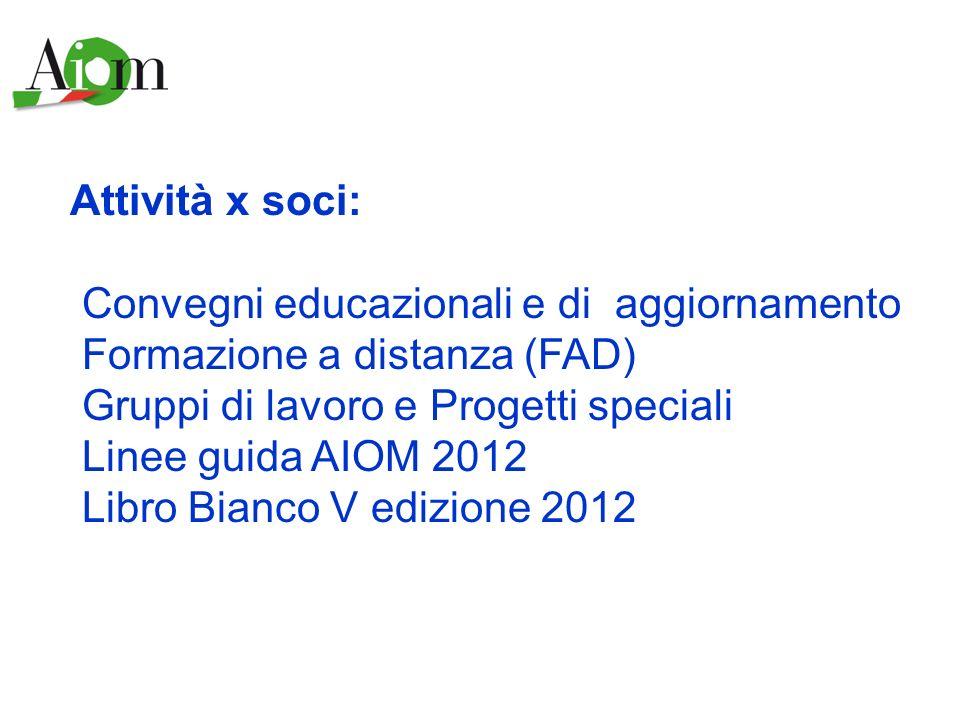Attività x soci: Convegni educazionali e di aggiornamento Formazione a distanza (FAD) Gruppi di lavoro e Progetti speciali Linee guida AIOM 2012 Libro
