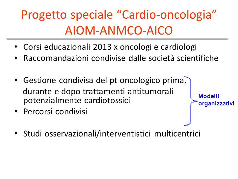 Progetto speciale Cardio-oncologia AIOM-ANMCO-AICO Corsi educazionali 2013 x oncologi e cardiologi Raccomandazioni condivise dalle società scientifich