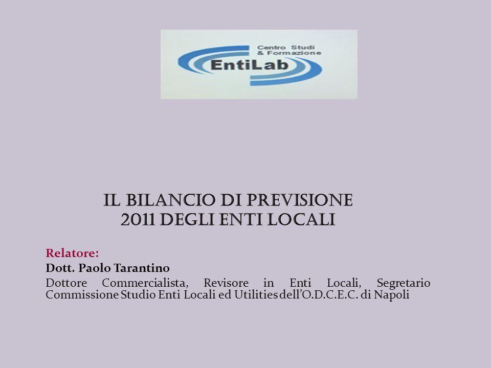 Il BILANCIO DI PREVISIONE 2011 DEGLI ENTI LOCALI Relatore: Dott.