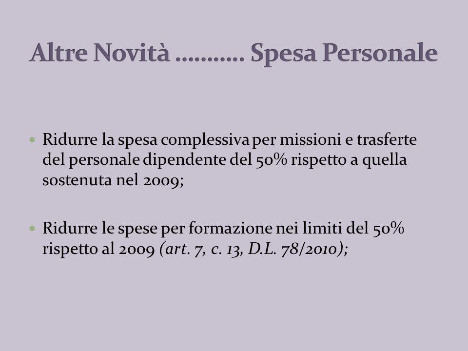 VIOLAZIONE A) Mancata riduzione delle spese di personale (Enti soggetti al patto); B) Mancato contenimento spesa entro lammontare 2004 (Enti non sogg.