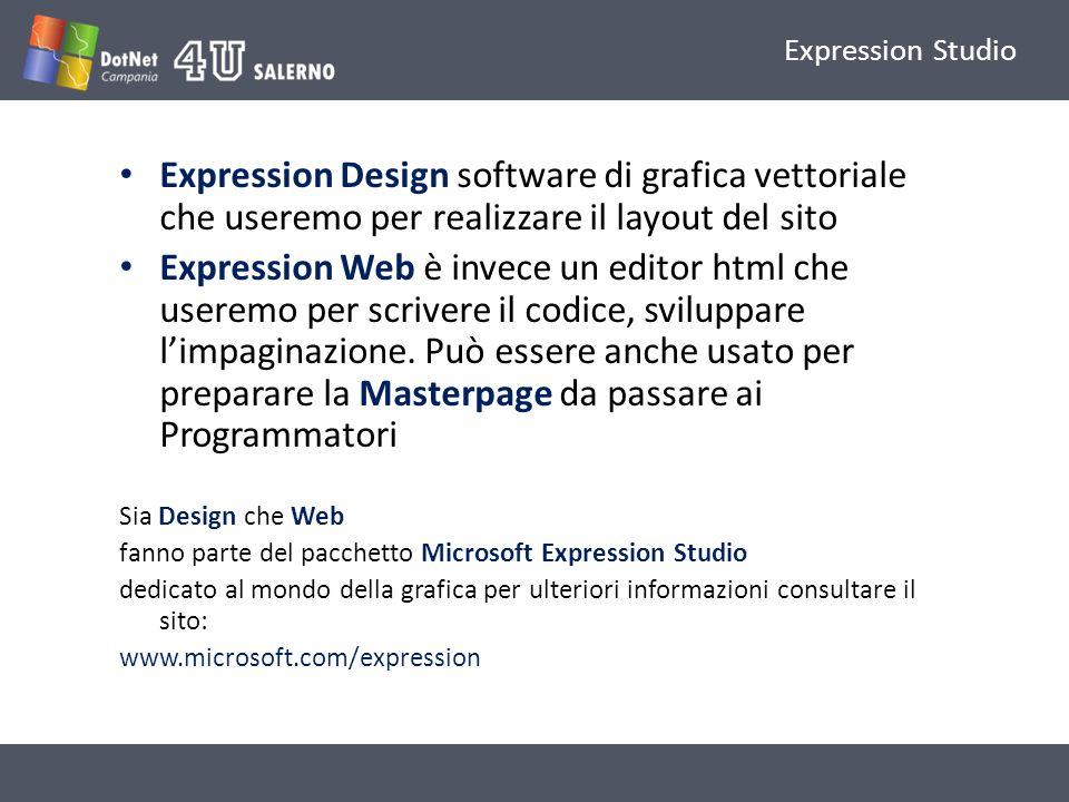 Expression Studio Expression Design software di grafica vettoriale che useremo per realizzare il layout del sito Expression Web è invece un editor htm