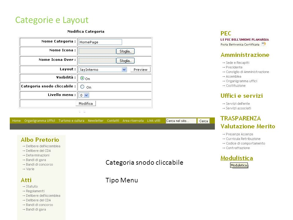 Categorie e Layout Categoria snodo cliccabile Tipo Menu