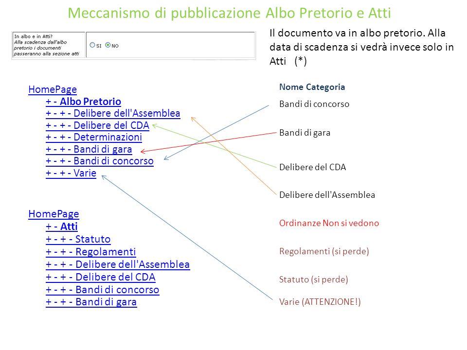 Meccanismo di pubblicazione Albo Pretorio e Atti HomePage + - Albo Pretorio + - + - Delibere dell'Assemblea + - + - Delibere del CDA + - + - Determina
