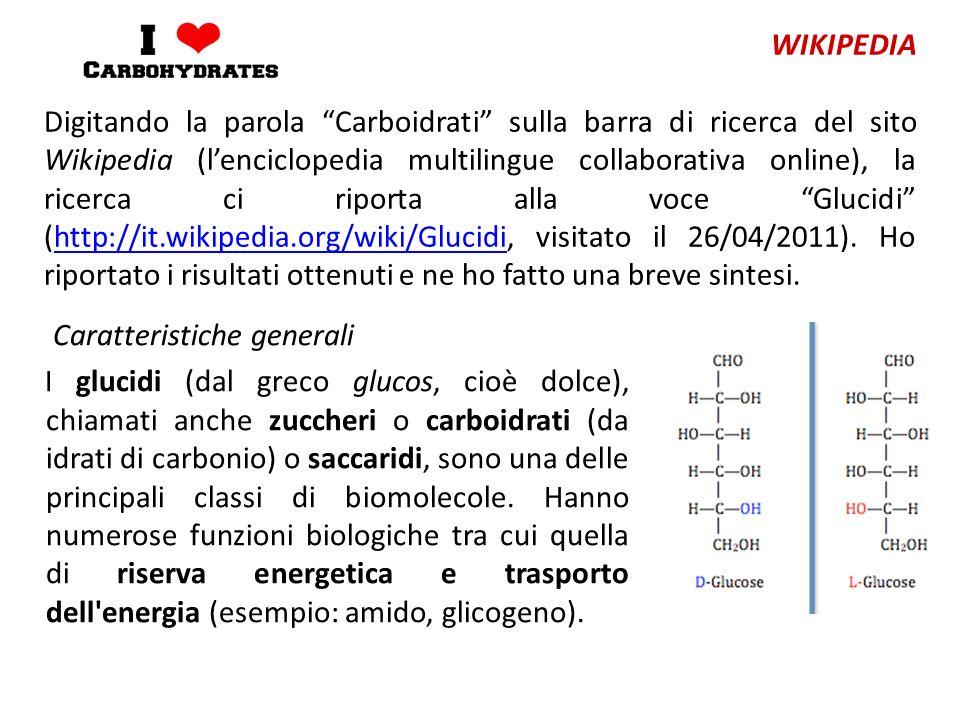 Caratteristiche generali I glucidi (dal greco glucos, cioè dolce), chiamati anche zuccheri o carboidrati (da idrati di carbonio) o saccaridi, sono una delle principali classi di biomolecole.