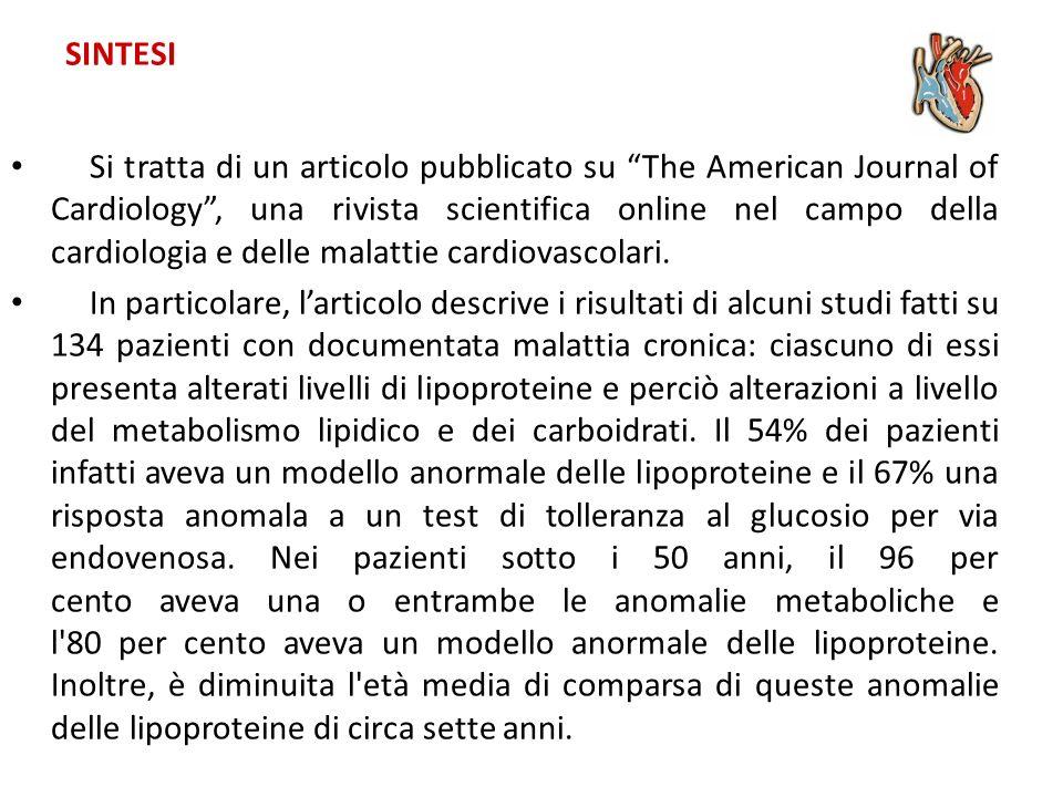 SINTESI Si tratta di un articolo pubblicato su The American Journal of Cardiology, una rivista scientifica online nel campo della cardiologia e delle malattie cardiovascolari.